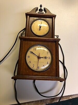 Vintage Swift & Andersen Mahogany Electric Clock and Barometer