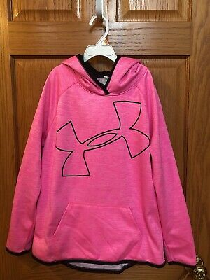 Girls Pink Under Armour hoodie Size L