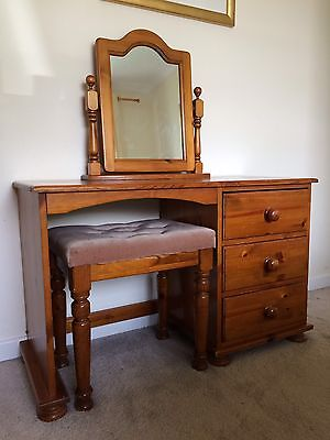 Solid Antique Pine Dressing Table With Stool & Mirror And Bedside Cabinet