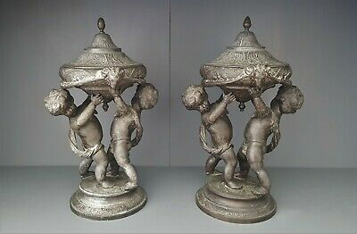 Pair French Antique Cast Bronze Spelter Lidded Compote Cherub Figures Victorian