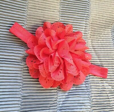 Baby Girl Newborn Red Flower Lace Elasticated Headband Party Summer NEW