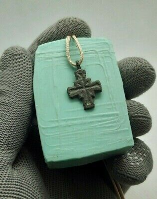 SUPERB Ancient Bronze VIKING CROSS AMULET Pendant 8-11 century AD  #132