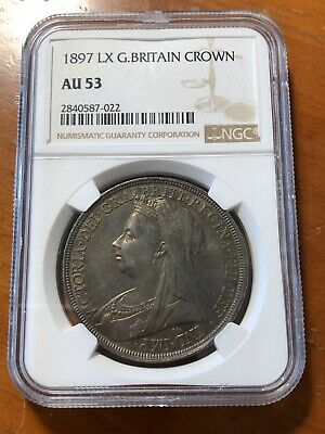 Great Britain 1897 LX  Silver Crown - Queen Victoria - NGC AU-53
