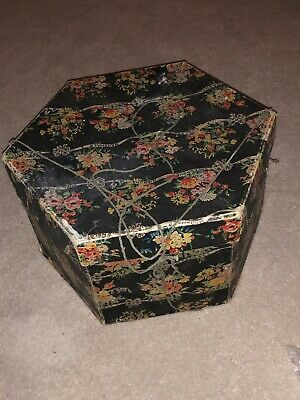 Vintage 1930s 40's Hat Box / Marshall & Snelgrove Hexagonal Black Floral Hat Box