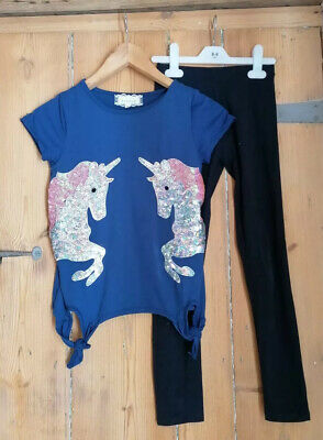 ***Girls Navy Zara Outfit Top Leggings Unicorn Age 10***