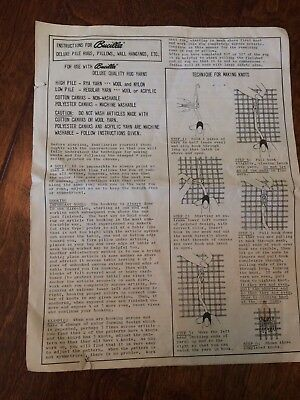 BUCILLA Vintage Instruction Sheet Build A Deluxe Pile Rug ,Pillows,Wall Hanging