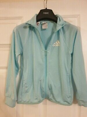 Girls Adidas Pale Turquoise / Mint Green Jacket Zip Up Top Age 9-10 Years