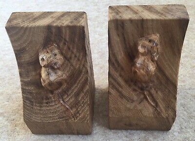 RARE Mouseman Robert Thompson Wooden Bookends Tiger Stripe Original Oak Genuine