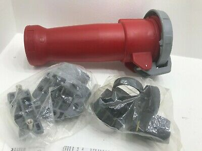 HUBBELL 4100C7W 100A 480V 30HP PIN & SLEEVE 3 WIRE red connector plug amp and