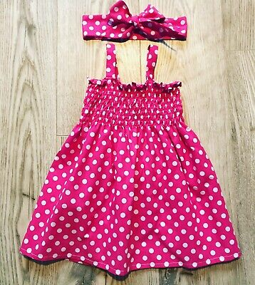 Baby Girls Spotted Elasticated Sundress And Headscarf Handmade Size 12-18 Months