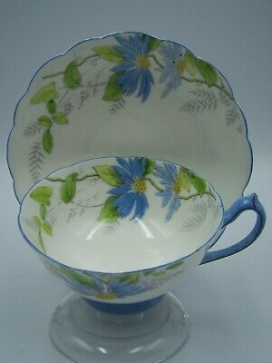 Vintage Paragon Cup Saucer Poinsettia Pattern Blue Variety Star Back Stamp