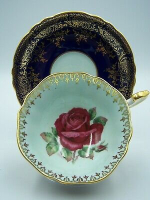 """Paragon Cup Saucer Navy Blue W/ Large Red Cabbage Rose Signed R. Johnson """"AS IS"""""""