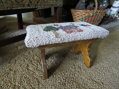 Vintage Wooden Foot Stool with Hand Hooked Top Americana Folk Art