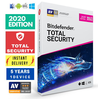 Bitdefender Total Security 2020 -5 Years- One Device Activation Download!!