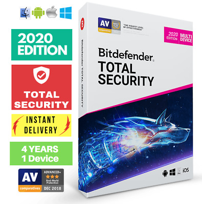 Bitdefender Total Security 2020 - 4 Years- One Device Activation Download!!