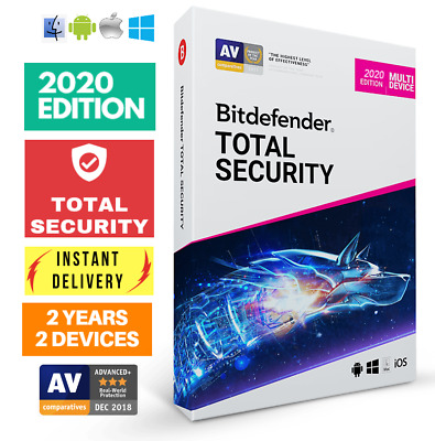 Bitdefender Total Security 2020 - 2 Years- 2 Devices Activation Download!!