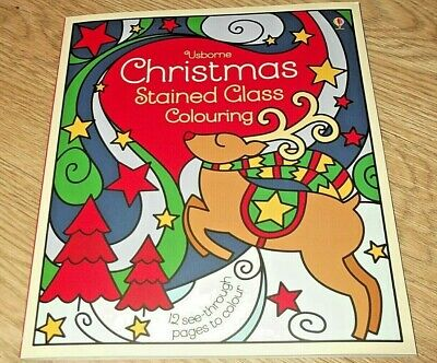 Christmas Stained Glass Colouring. Usborne. RRP £6.99. New.