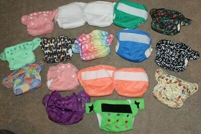 Bumgenius & Smart bottoms Diapers Lot 17 button NEWBORN size Many W/ INSERTS!