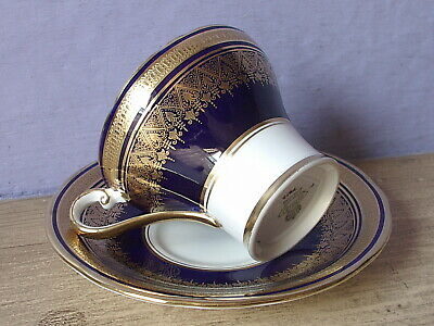 Antique Aynsley England Blue and Gold bone china tea cup teacup and saucer