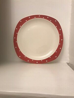 Midwinter Domino red & white  Polka Dot dinner plate Jessie Tait designed 1950's