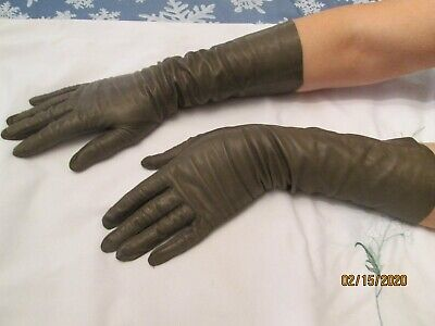 Women French Taupe Leather Gloves, size S