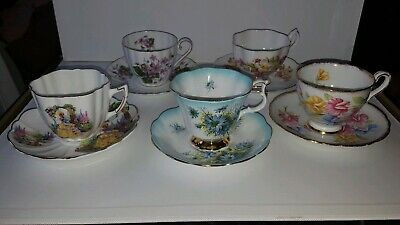 5 English Teacups & Saucers Victoria Queen Anne Royal Albert Royal Stafford..VTG
