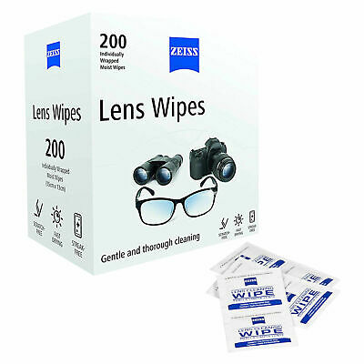 ZEISS  Pre Moist Lens LARGE Wipes Individually wrapped Pack of 200