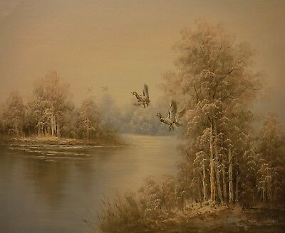 WOOLMER 24x20 OIL PAINTING on flat canvas – Duck flight over a wide river