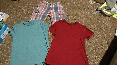 Boys Age 8 Years Check Shorts & 2x T-Shirts Marks & Spencer & scotch shrunk