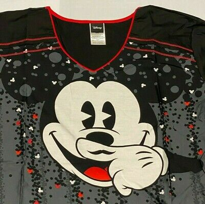 Tooniforms Disney Micky Mouse Fitted Uniform Scrub Top Size 3XL