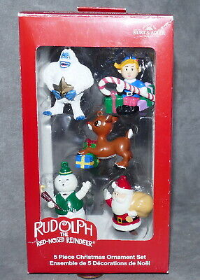 ⏲️ Christmas RUDOLPH Ornament Resin KURT ADLER Santa & Friends Total 5 NIB
