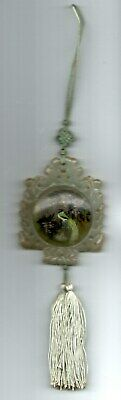 Antique Chinese hand-carved Jade Pendant w Reverse paint Glass19th- 20th century