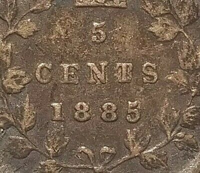 5 Cents 1885 Canada Small Repunched 5/5 Type 2 Vraiment rare