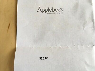 APPLEBEE'S Certificate Gift Card $25 Value Free Shipping! Delivered By Mail