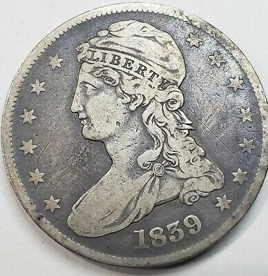 1839 Capped Bust Half Dollar (NICE DETAILS) and TONING NICELY ON REVERSE