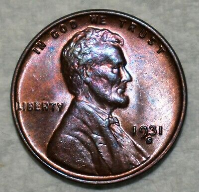 Brilliant Uncirculated 1931-S Lincoln Cent! Beautifully toned specimen!
