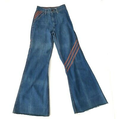 Vintage 70s Faded Glory Bell Bottom Jeans Hippie Flare Denim 23 x 30 Womens TINY