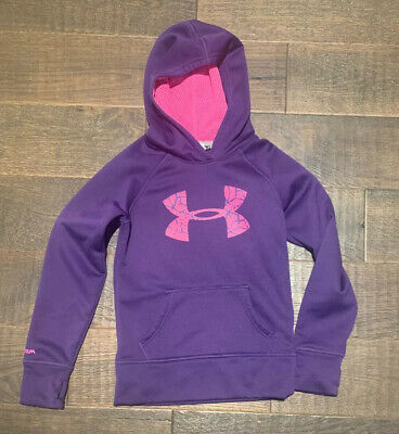 Girls YSM Small Purple Pink Under Armour Pull Over Athletic Hoodie