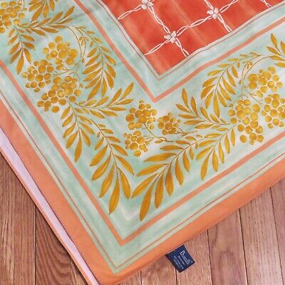 """Beauville France French Tablecloth 62"""" square Rust Peach Orange Green Gold"""