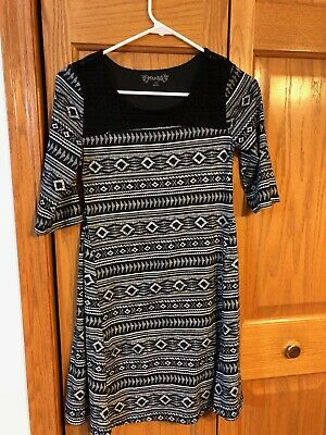 Girls black print Mudd  dress size 14 NWOT