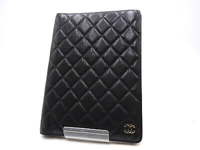 Auth CHANEL CC Matelasse Agenda GM Day Planner Note Cover Caviar Skin Black 1516