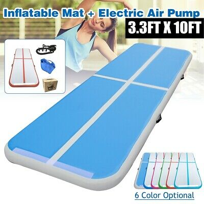 3.3FT X 10FT Inflatable Air Track Floor Home Gymnastics Tumbling Mat Fitness GYM