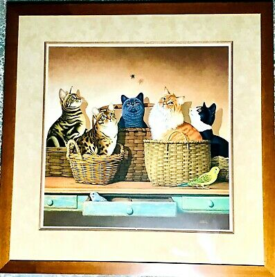 "Cats N Baskets Teakwood Framed Matted Art Print 36 1/2"" X 29 1/2"""