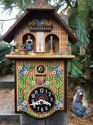 Large Toggili  Weather Station Running Cuckoo Clock Great Colors Runs Well.