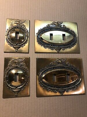 Vtg Mid Century Colonial Eagle Brass Light Switch Cover Plate Lot Of 4