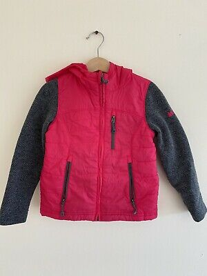 REI Girl's Zip Up Hoodie - Size XXS 4/5 Multi Coloring Magenta With Grey Dleeves