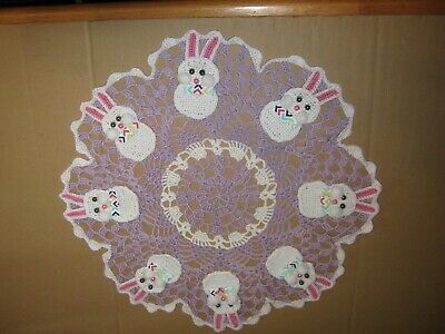 New Hand Crocheted Doily Easter Bunnies #10
