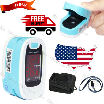 LED Finger Tip Pulse Oximeter Spo2 Blood Oxygen Patient Monitor,Lanyard,Pouch,US