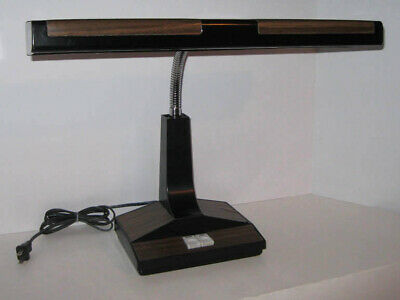 Vintage Wood Grain Desk Lamp Fluorescent Gooseneck Light Mid Century Retro 70s
