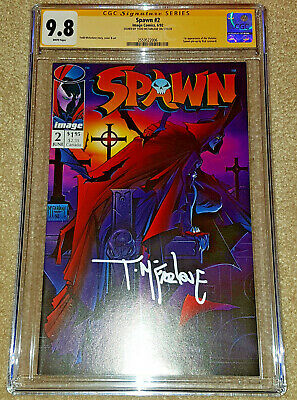 SPAWN #2 CGC 9.8 WHITE PAGES SS SIGNED TODD McFARLANE FIRST VIOLATOR NEW SLAB